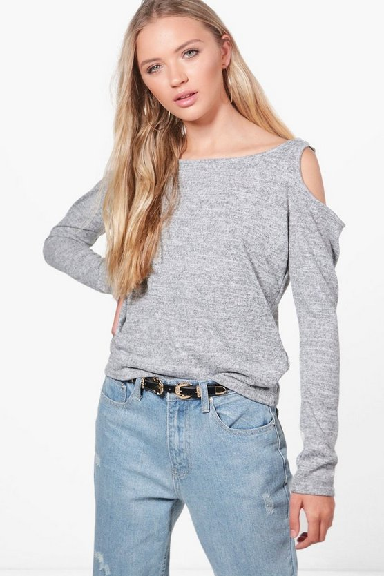D-Ring Cold Shoulder Knitted Top