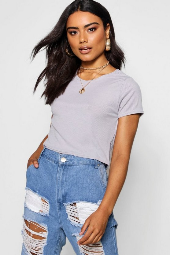 Basic Rib Crop T-Shirt