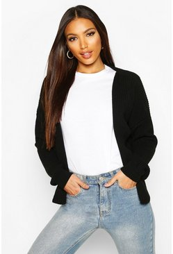 Womens Black Oversized Rib Crop Cardigan