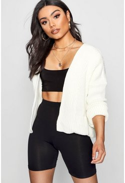 Womens Cream Oversized Rib Crop Cardigan