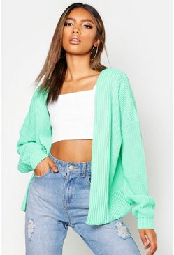 Womens Green Oversized Rib Crop Cardigan