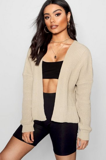Womens Stone Oversized Rib Crop Cardigan