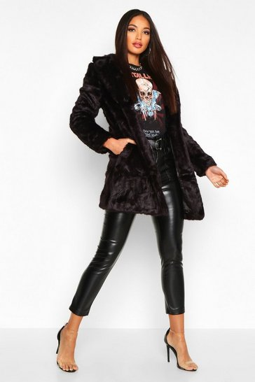 Womens Black Boutique Rever Collar Faux Fur Coat
