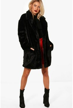 Womens Black Boutique Oversized Collar Faux Fur Coat