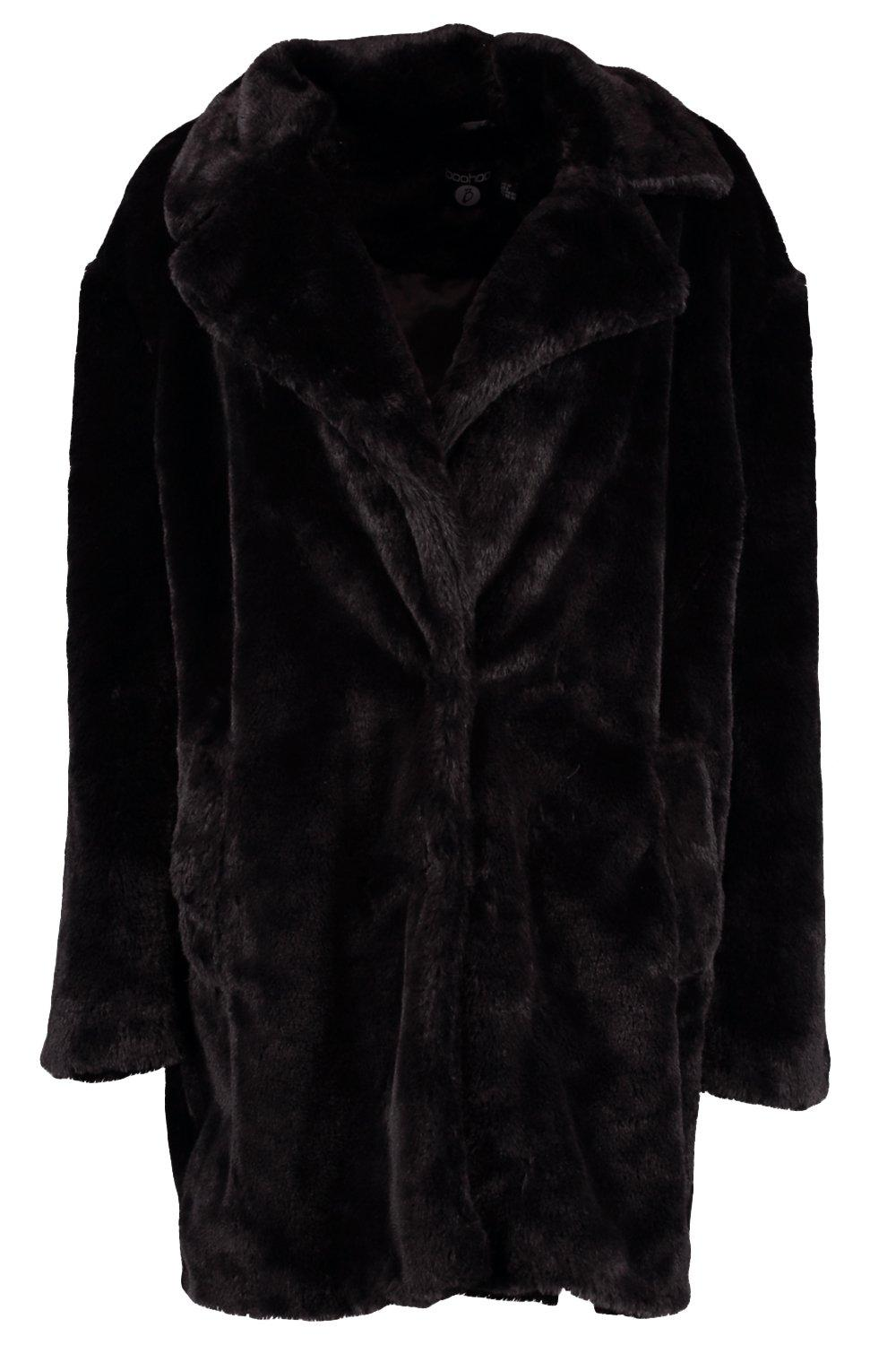 Collar Oversized Coat black Faux Boutique Fur TOx5pwwq
