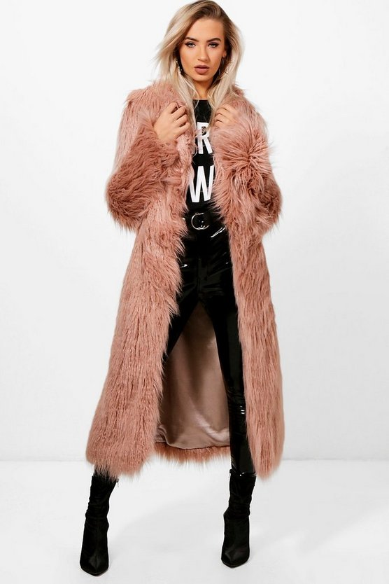 Womens Dusky pink Boutique Mongolian Maxi Faux Fur Coat