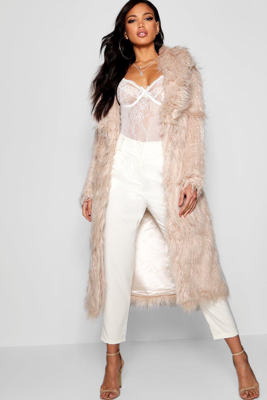 natural Boutique Maria Mongolian Fur Maxi Faux Coat 4Sn7azqw