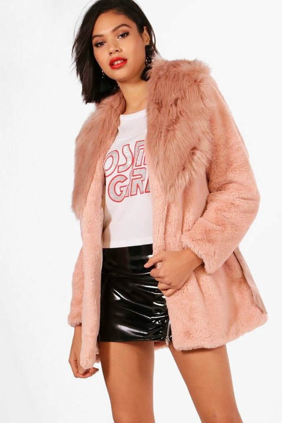 Boutique Mix Faux Fur Belted Coat