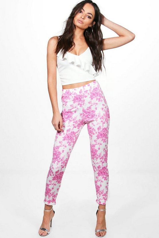 Elise Pink Floral Stretch Skinny Trousers