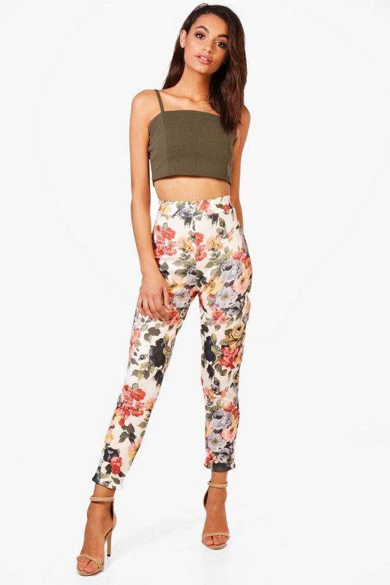 Tansie Floral Stretch Skinny Trousers
