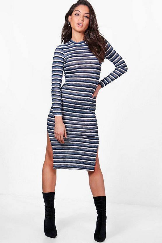 Natalie Multi Stripe Midi Bodycon Dress