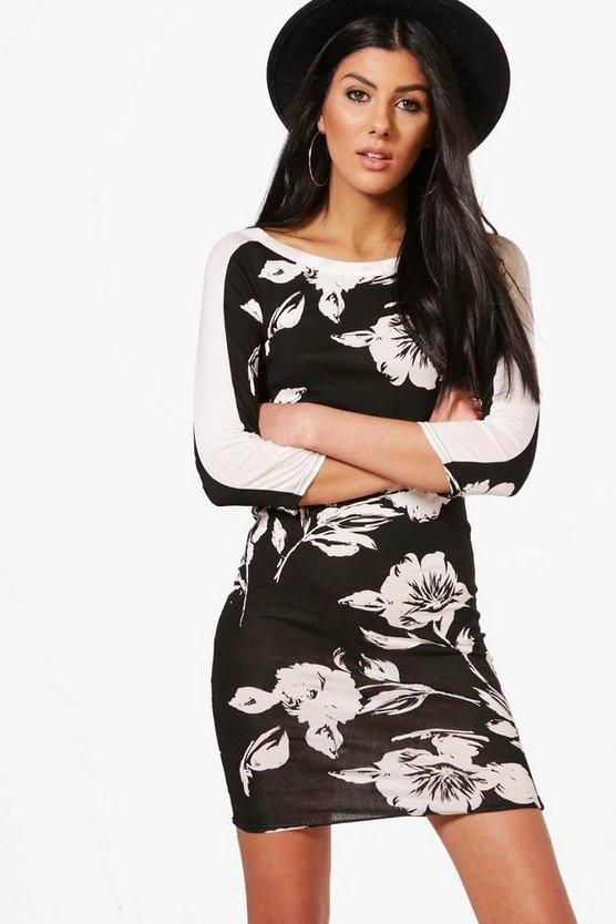 Lucie Contrast Stripe Floral Bodycon Dress