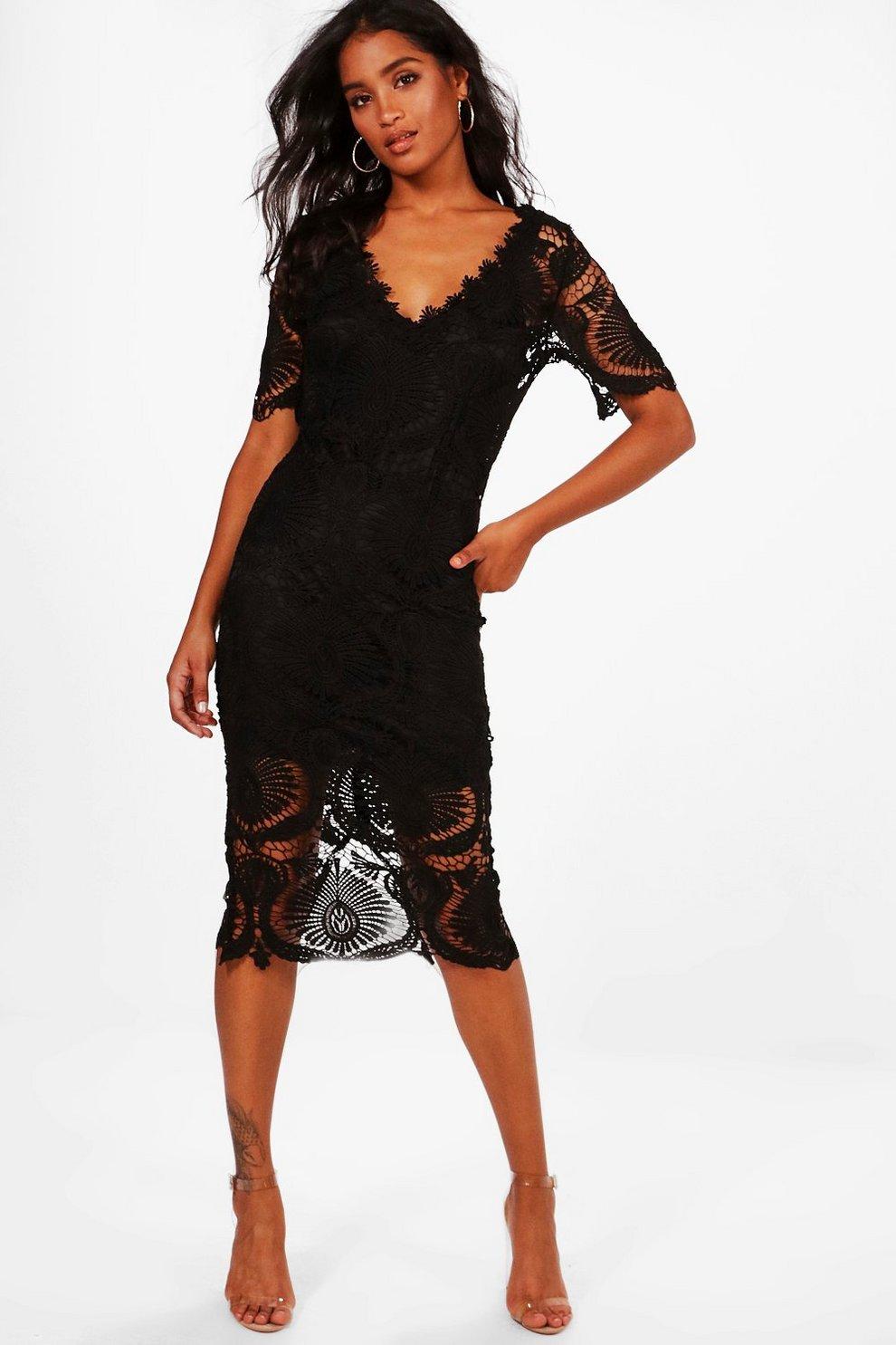 14fc0975d75c Boutique Lace Cap Sleeve Midi Dress | Boohoo