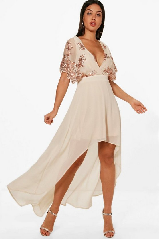 Harriet Sequin Top Dip Hem Maxi Dress