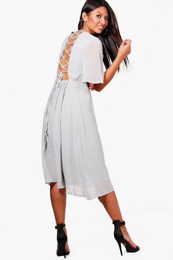 Chiffon Angel Sleeve Lace Up Back Skater Dress