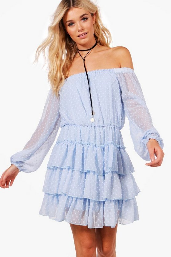 Chrissy Dobby Chiffon Skater Dress