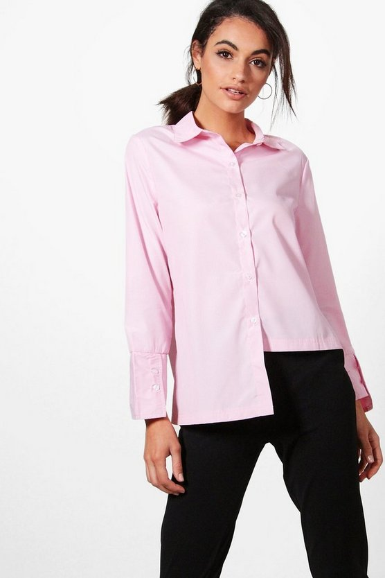 Emma Stripe High Low Tailored Shirt