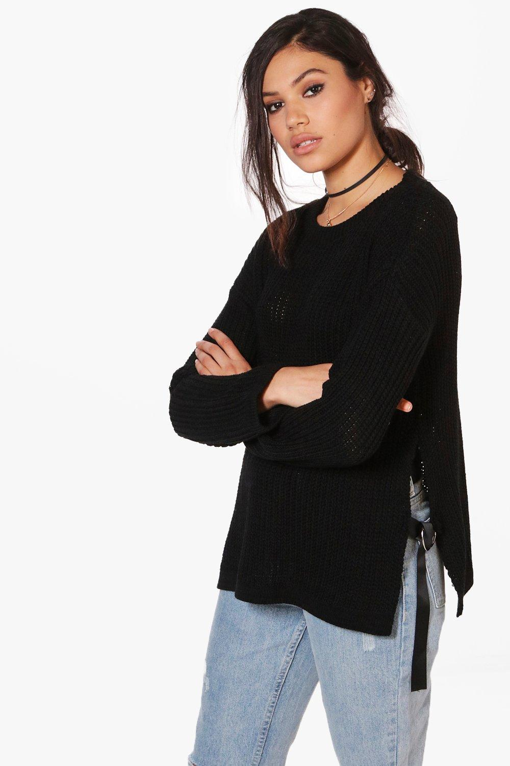 8c9a43a1f7 ... Lace UP Side Split Jumper. Hover to zoom