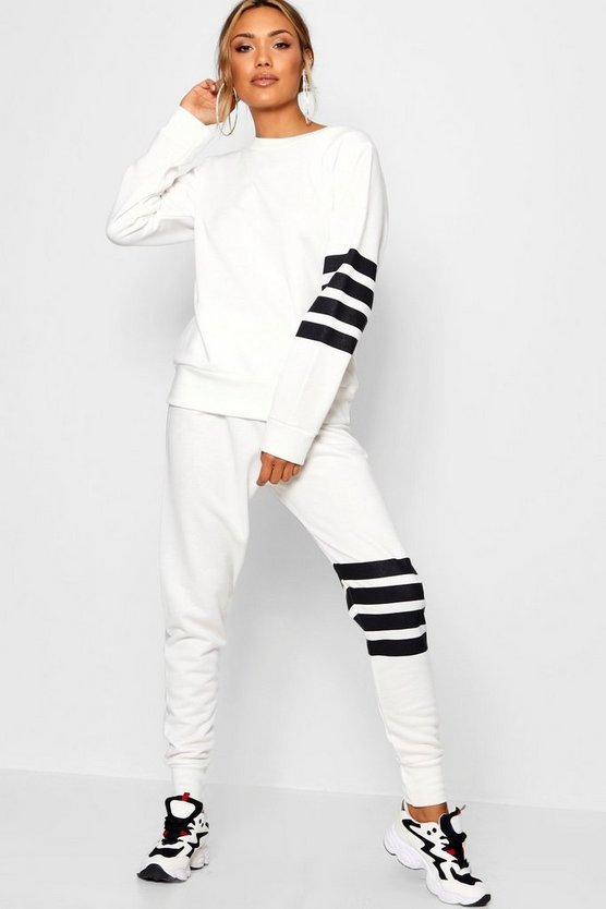 Womens White Athleisure Running Joggers