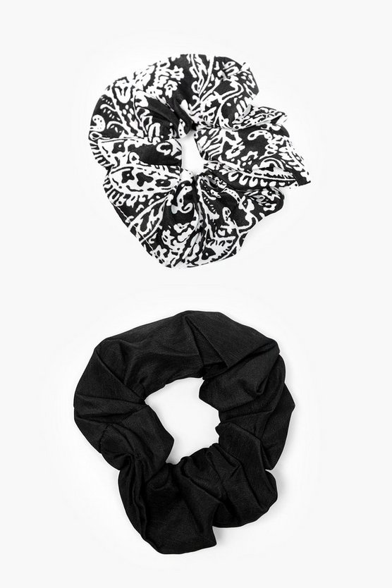 Womens Black Amelie Paisley Print Scrunchie 2 Pack