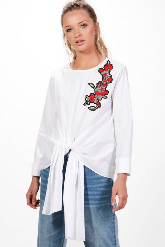 Lola Embroidered Tie Front Blouse