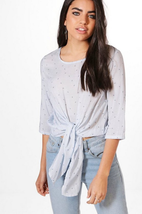 Anchor Print Tie Front Blouse