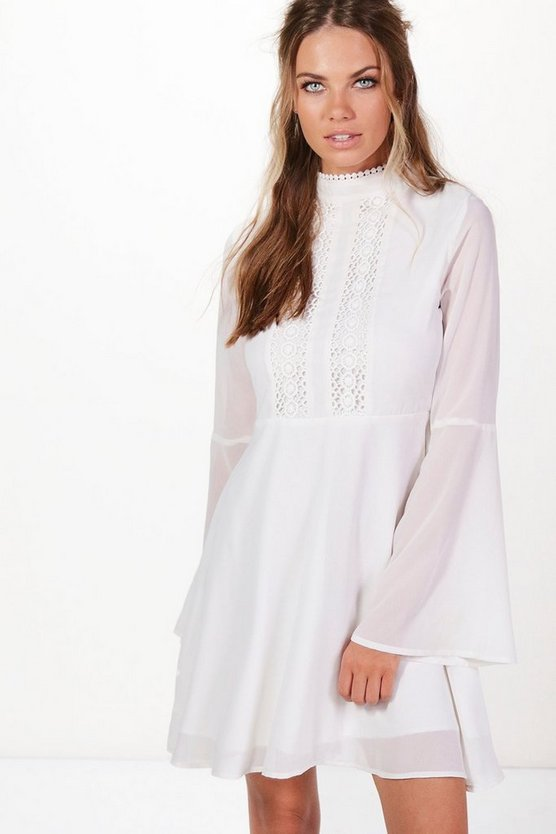 Lace Detail Flute Sleeve Skater Dress