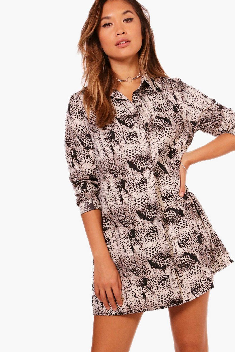 a8454bbae036 Snake Print Shirt Dress | Boohoo