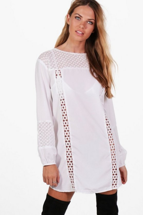 Lace Insert Long Sleeve Shift Dress