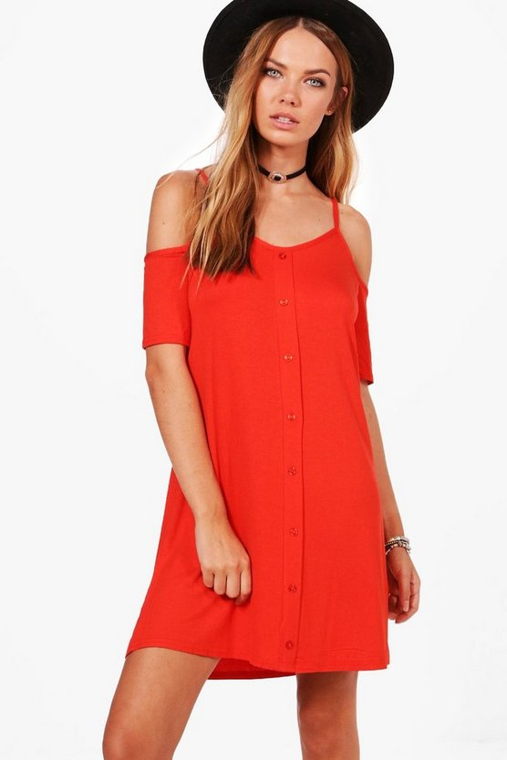 Button Through Cold Shoulder Swing Dress