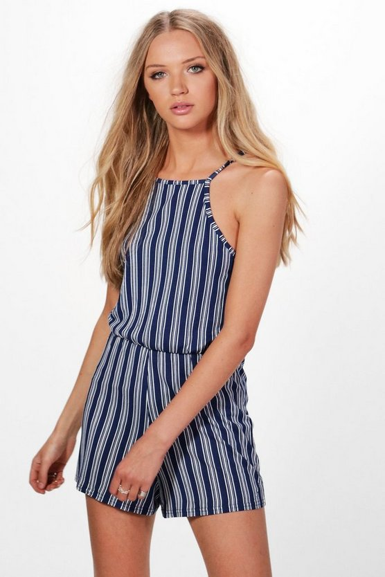 High Neck Striped Playsuit