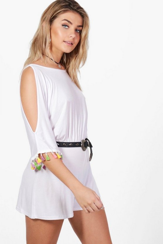 Lara Neon Tassel Trim Split Sleeve Playsuit