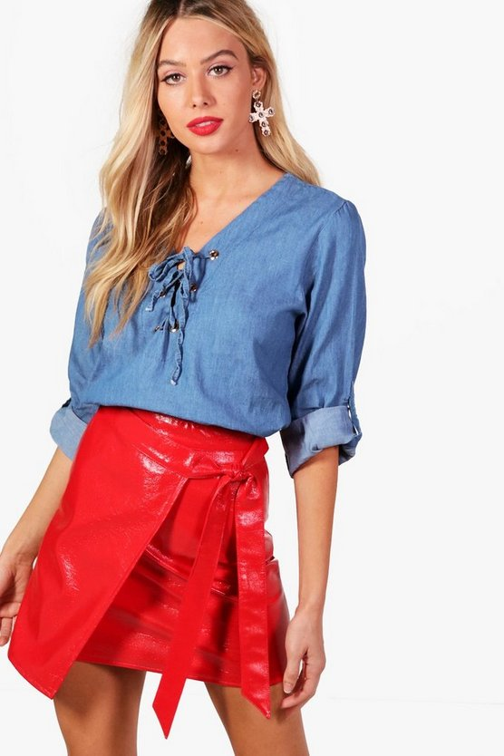 Jonquil Eyelet Lace Up Denim Top