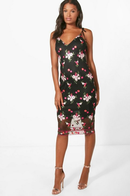 Boutique Embroidered Midi Dress