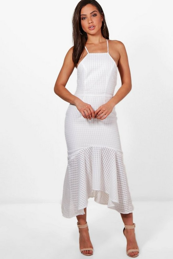 Textured Fabric Frill Hem Midi Dress