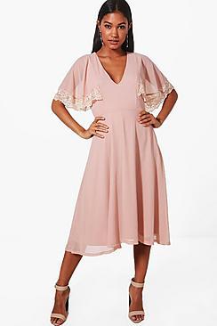 1930s Style Dresses   30s Art Deco Dress Halie Lace Trim Midi Skater Dress $51.00 AT vintagedancer.com