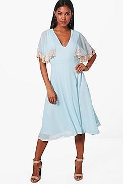 1930s Day Dresses, Afternoon Dresses History Halie Lace Trim Midi Skater Dress $44.00 AT vintagedancer.com