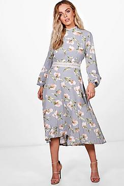 1930s Day Dresses, Afternoon Dresses History Zena Floral Open Back Midi Skater Dress $50.00 AT vintagedancer.com