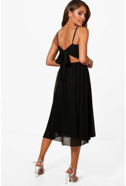 Womens Black Chiffon Tie Back Midi Skater Dress