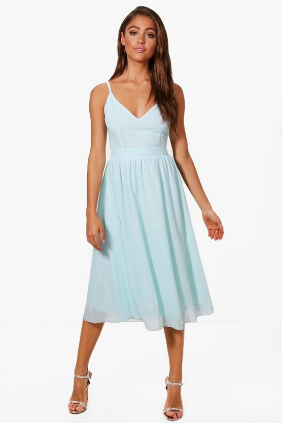 Chiffon Tie Back Midi Skater Dress