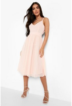 Nude Chiffon Tie Back Midi Skater Bridesmaid Dress