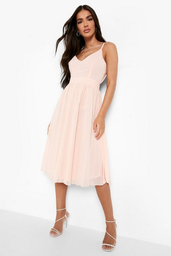 Chiffon Tie Back Midi Skater Dress, Nude, Donna