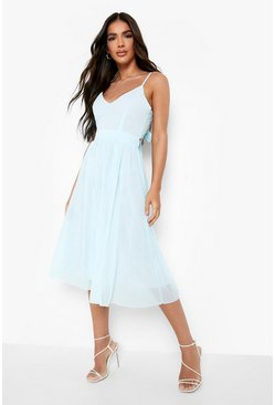 Chiffon Tie Back Midi Skater Bridesmaid Dress, Sky