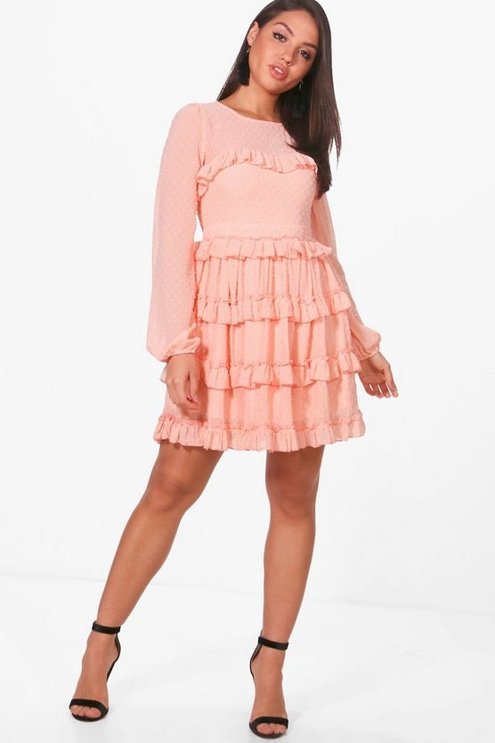 Dobby Ruffle Skirt Skater Dress