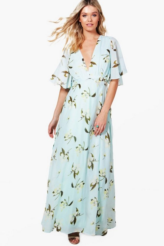 Harper Floral Angel Sleeve Wrap Maxi Dress