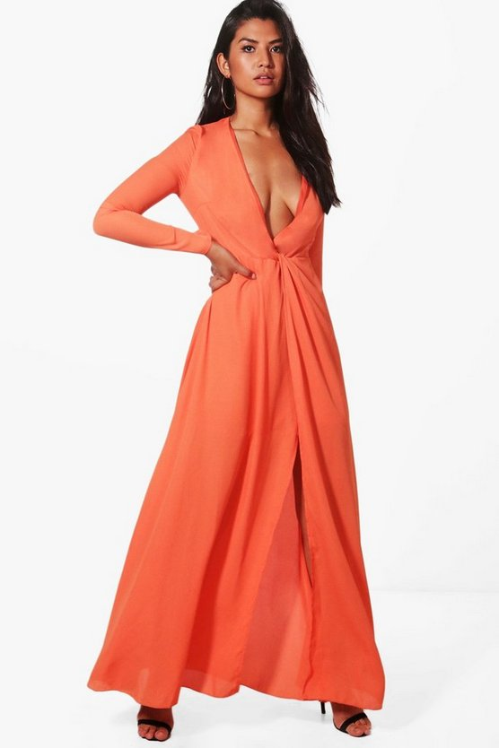 Crepe Knot Front Maxi Dress