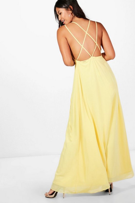 Chiffon Strappy Back Maxi Dress