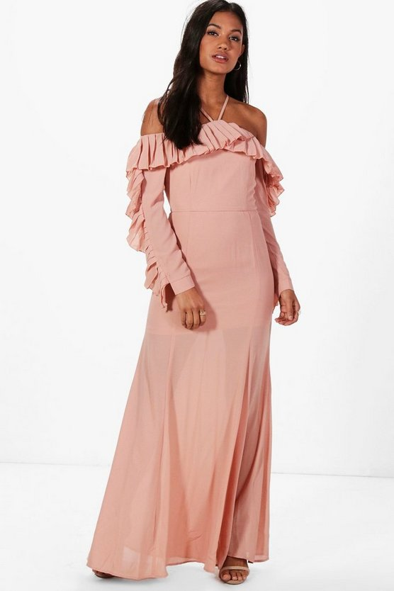 Boutique Pleated Frill Maxi Dress