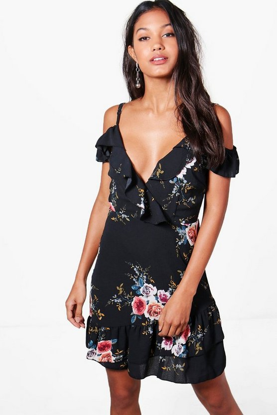 Womens Black Floral Cold Shoulder Frill Hem Dress