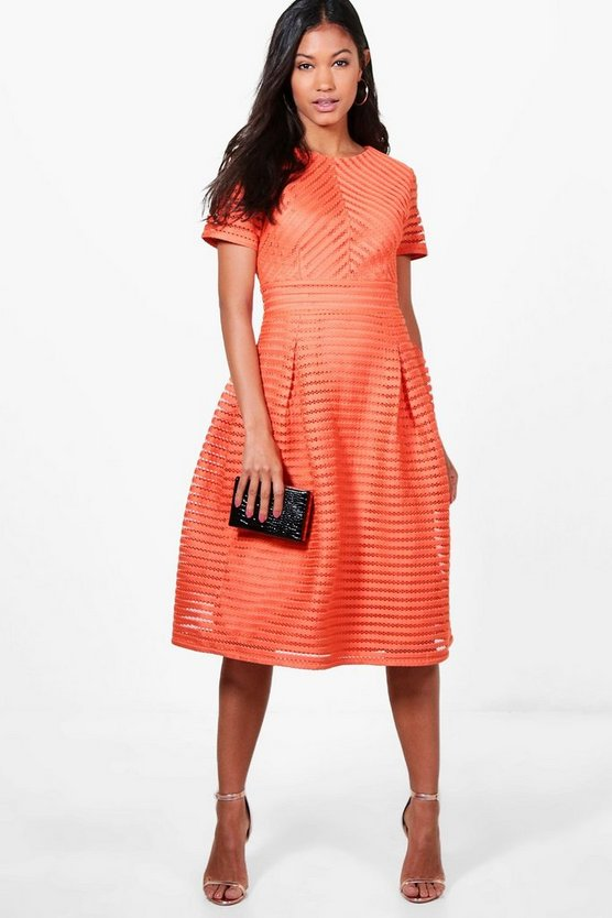 Womens Orange Boutique Frill Skirted Prom Midi Dress